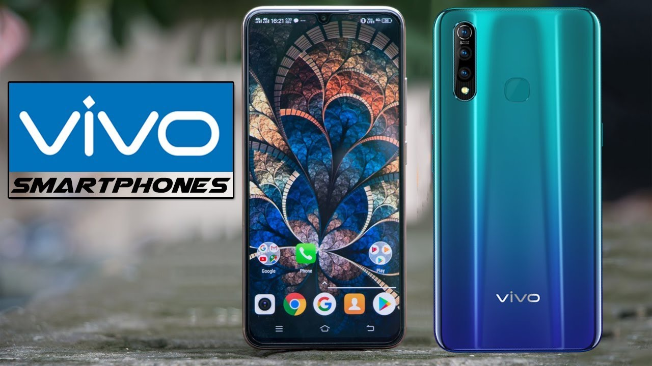 Vivo smartphone showing it's front and back with vivo's logo beside it