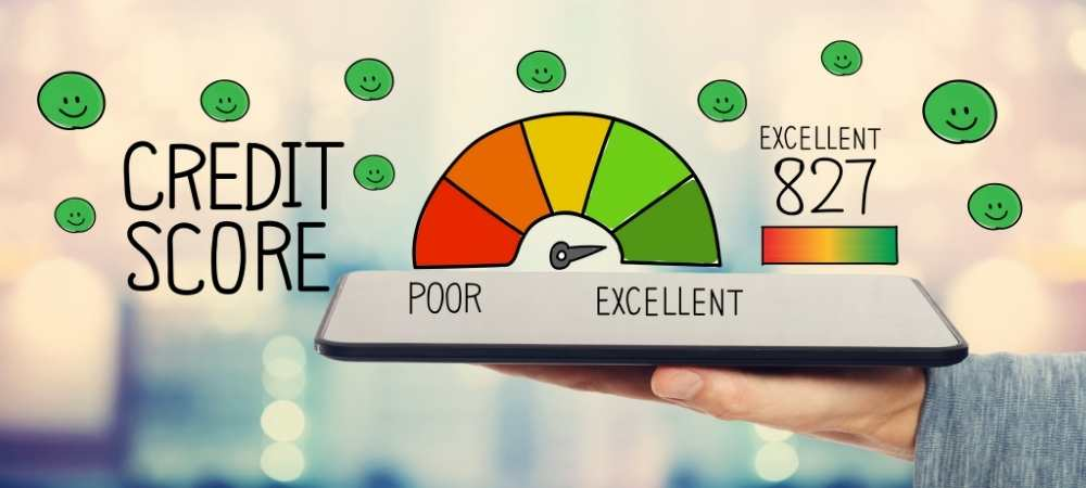 Excellent Credit Score with tablet computer