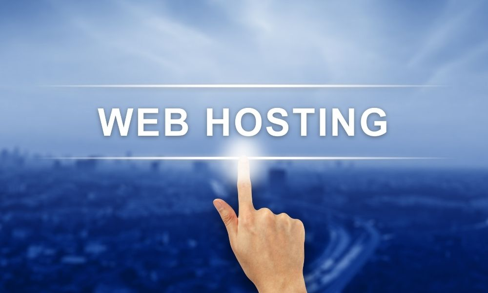 hand clicking web hosting button on touch screen