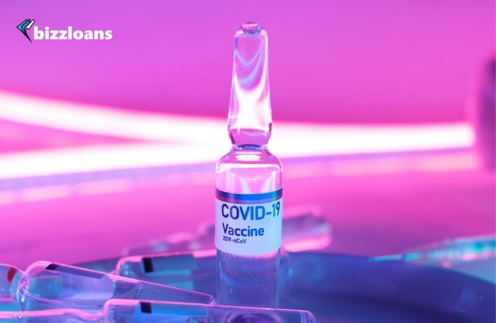 Glass clean ampoule with covid vaccine for small businesses