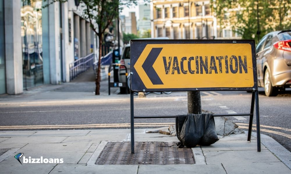 Vaccination sign by the road. Banner for covid vaccine campaign