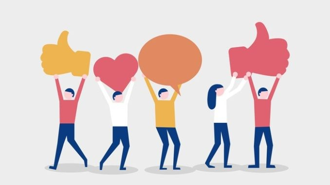 Referral program concept. Group of people holding social media icons. Trendy vector illustration.